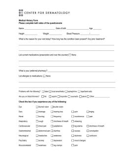 complaint questionnaire for machine