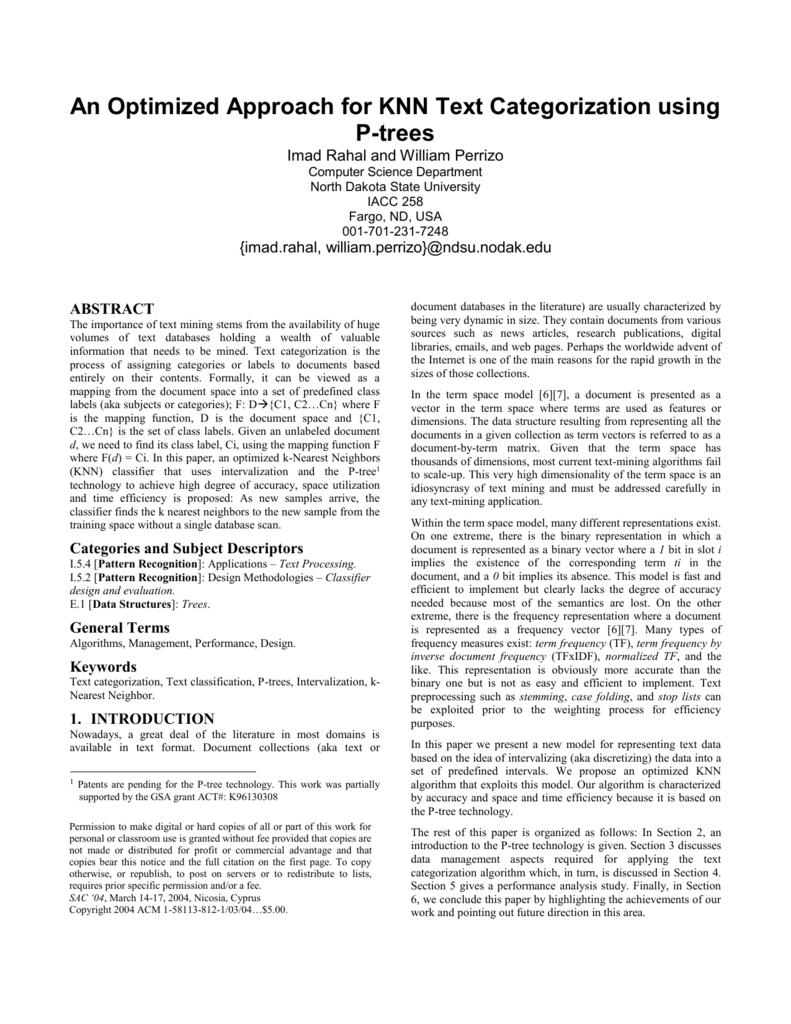 An Optimized Approach for KNN Text Categorization using P