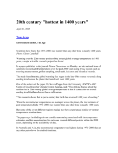 "20th century ""hottest in 1400 years"""