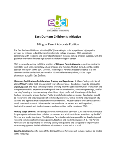 Occupational Summary - East Durham Children`s Initiative