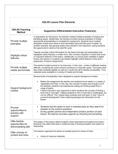 UDL/DI Lesson Plan Elements Life Cycle of Plants