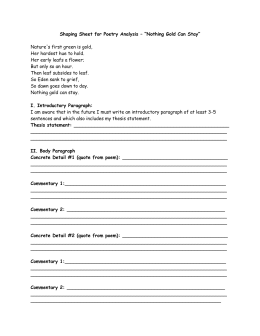 "poetry explication outline worksheet shaping sheet for poetry analysis ""nothing gold can"