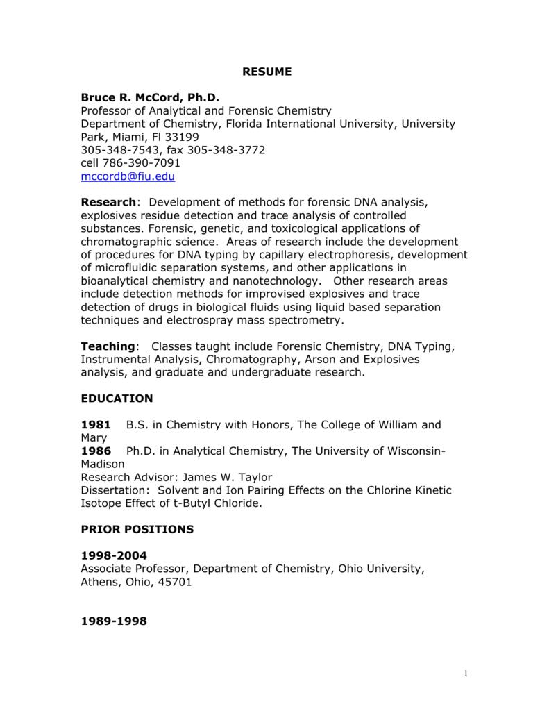 Resume Fiu Faculty Websites Florida International University