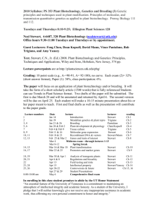Syllabus 353 Plant Genetics, Breeding, and Biotechnology (3