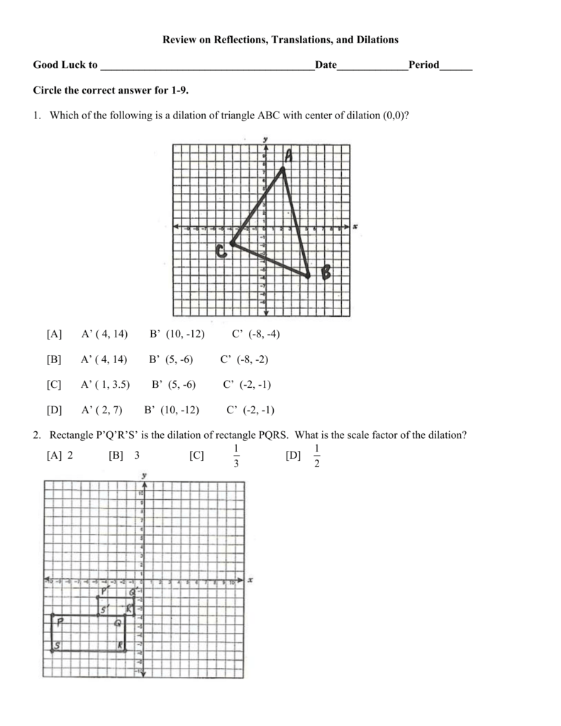 Review on Reflections, Translations, Dilations In Dilations Translations Worksheet Answers