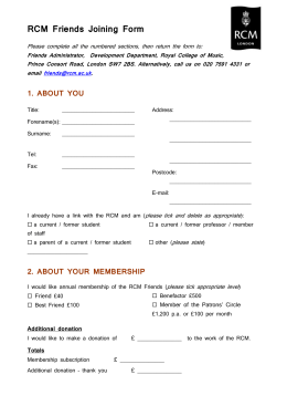 RCM Friends Gift Membership Donation Form