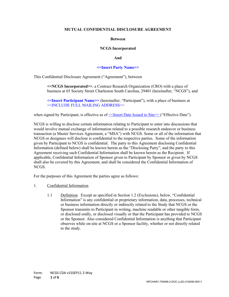 Confidential Disclosure Agreement
