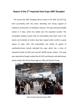 Report of the 2nd Imported Auto Expo 2007 Shanghai The second
