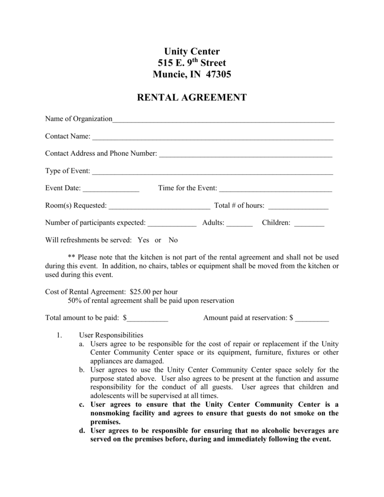 Rental Agreement Muncie Unity Center