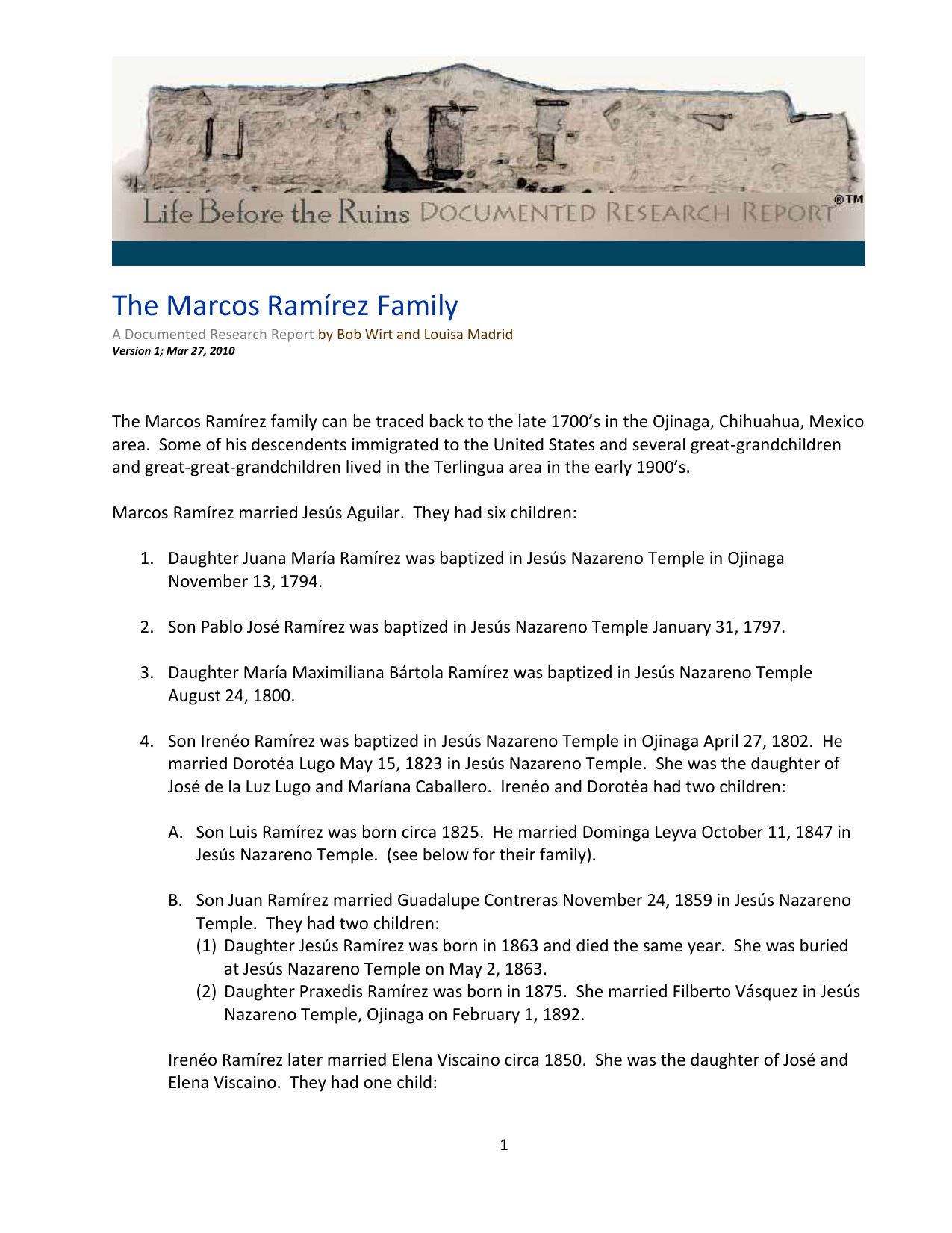 Marcos Ramirez Documented Research Report