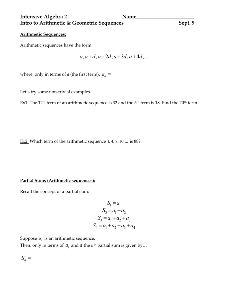 Worksheet: Intro to Arith. & Geo. Sequences With Arithmetic And Geometric Sequences Worksheet