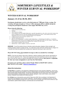 NORTHERN LIFESTYLES & WINTER SURVIVAL WORKSHOP