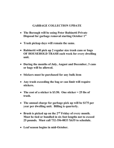 GARBAGE COLLECTION UPDATE