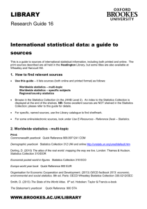 International statistical data: a guide to sources