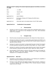 Agenda for the 82nd Meeting of the Genetic Engineering Approval