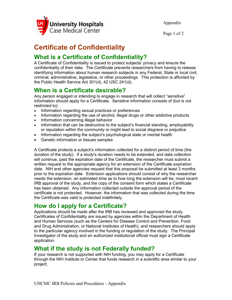 Appendix Certificate Of Confidentiality