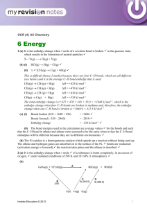 as level chemistry 2.1 assessed homework energetics mark scheme