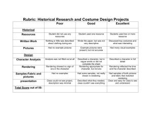 Rubric: Historical Research and Costume Design Projects