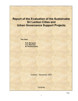 Report of the Evaluation of the Sustainable Sri Lankan Cities and