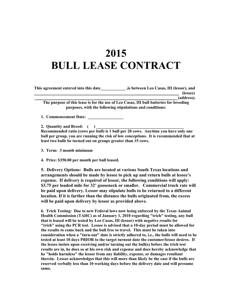 Bull Lease Agreement