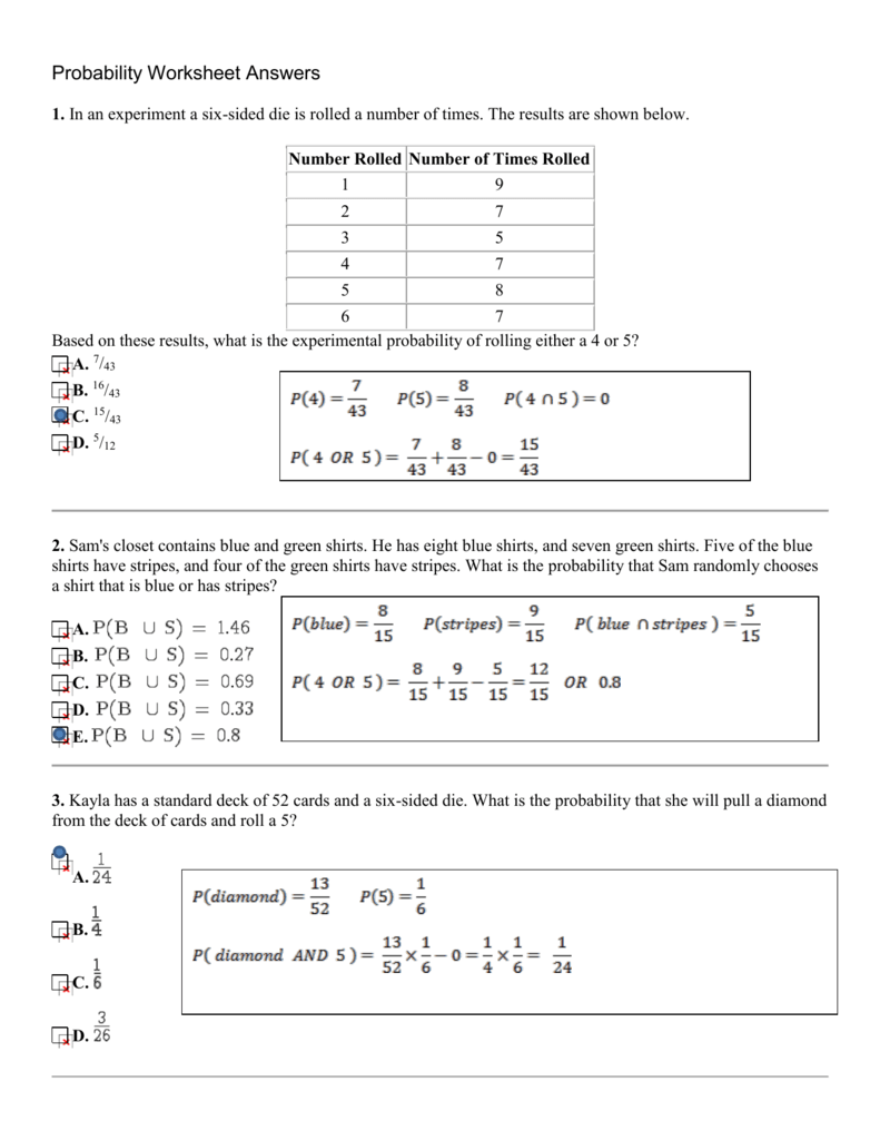 Probability Worksheet Answers