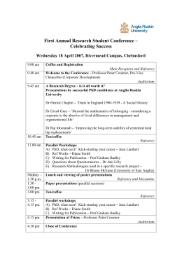 First Annual Research Student Conference Programme