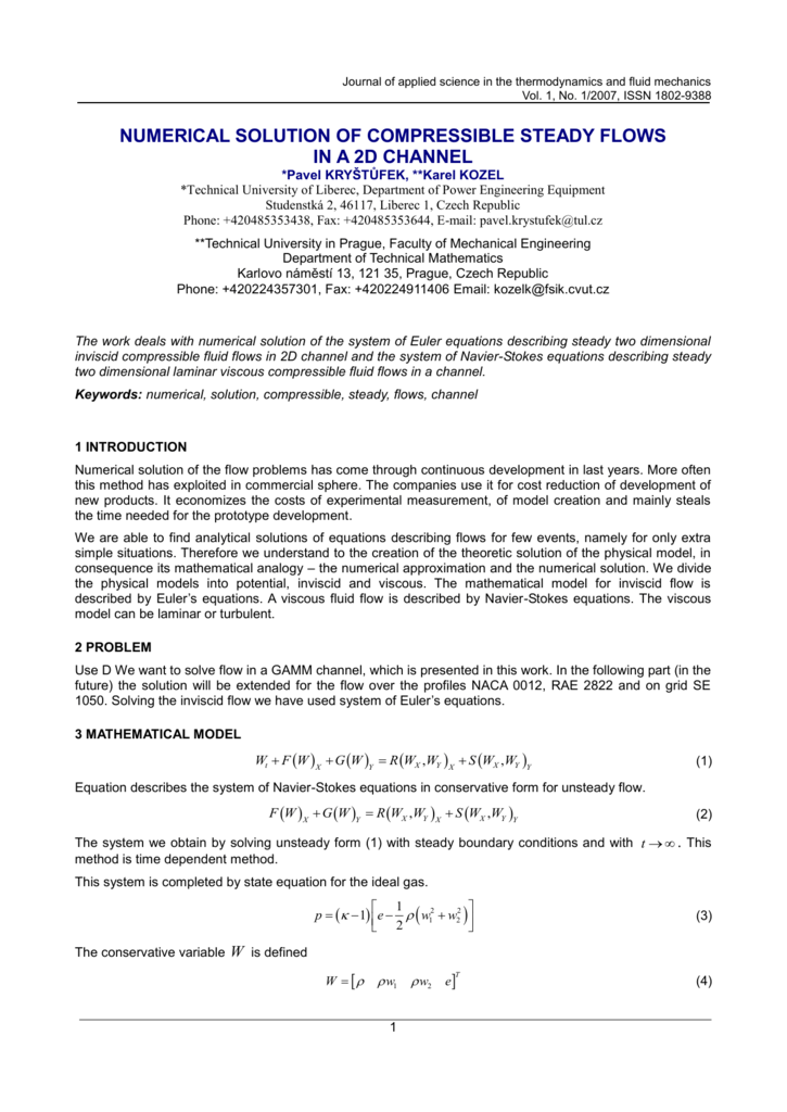 numerical solution of compressible steady flows