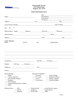 Outpatient Information Form