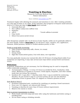 Vomiting and Diarrhea Information Sheet