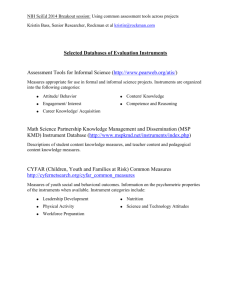 Common Assessment Instruments - Slides and Handout