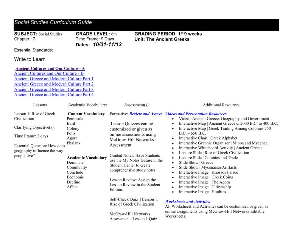 Workbooks social studies worksheets 6th grade : chapter-7-social-studies-curriculum