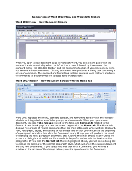 Comparison of Word 2003 Menu and Word 2007 Ribbon