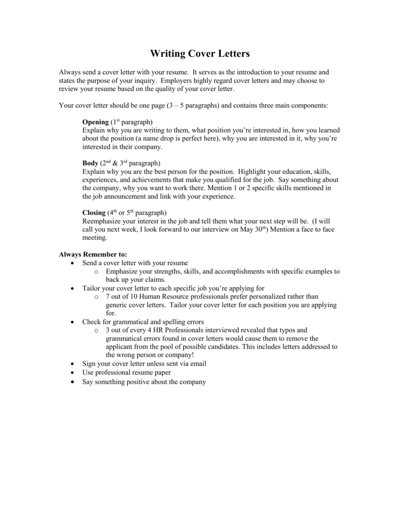 Cover Letters Alliant Connect