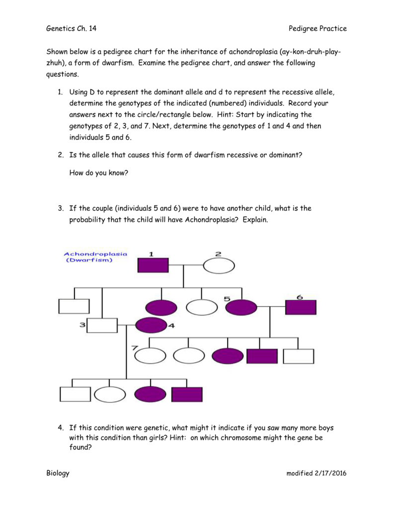 Shown Below Is A Pedigree Chart For The Inheritance Of