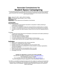 Associate Commissioner for Student Space Campaiging