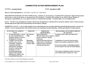 CORRECTIVE ACTION IMPROVEMENT PLAN