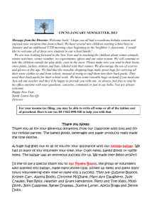 upcns january newsletter, 2013 - United Parish Christian Nursery