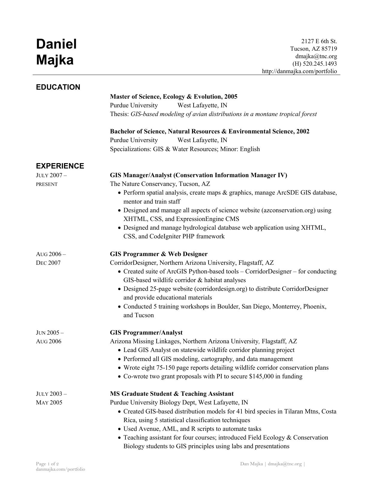 Daniel Majka Resume