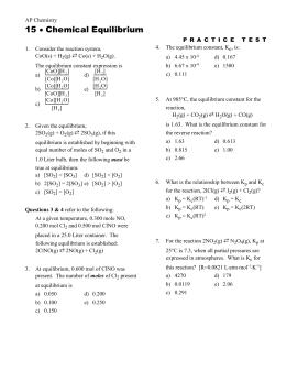 Reversible Reactions & Equilibrium - Key - chem30