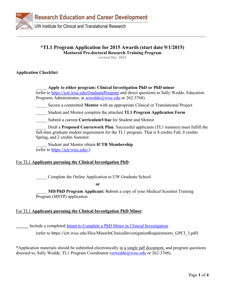TL1 Program Application Instructions and Form