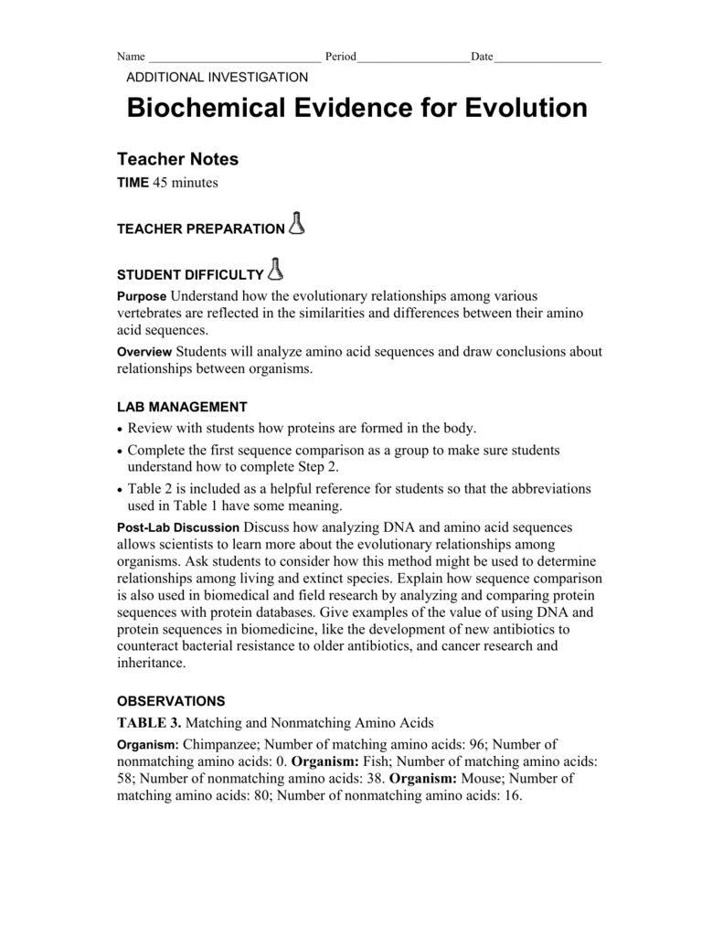 Biochemical Evidence For Evolution Worksheet - Sharebrowse