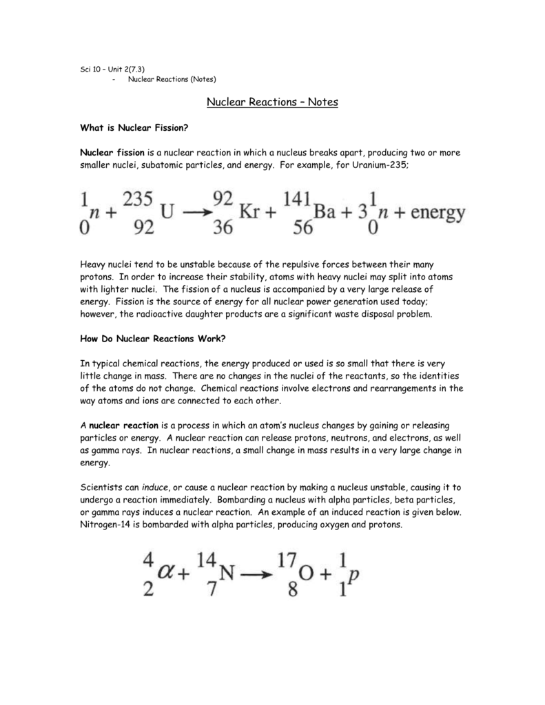 worksheet Nuclear Reaction Worksheet nuclear reactions