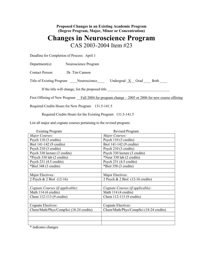 Changes in Neuroscience Program