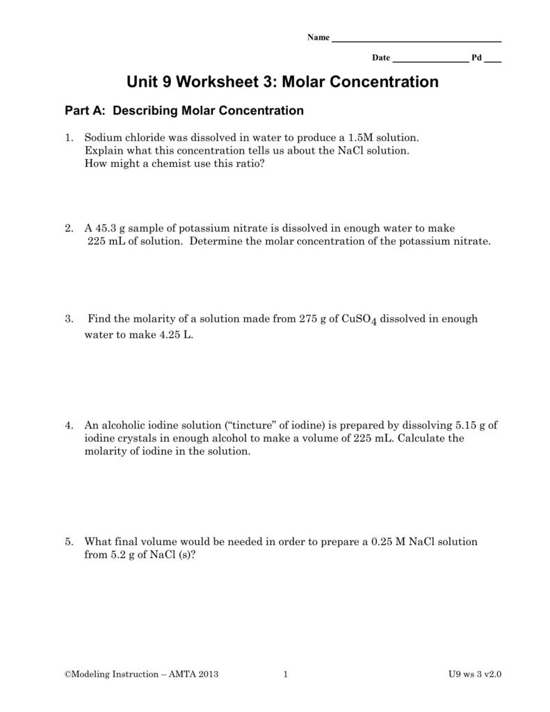 Part A: Describing Molar Concentration