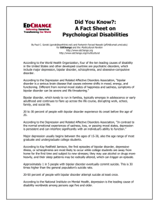 A Fact Sheet on Psychological Disabilities