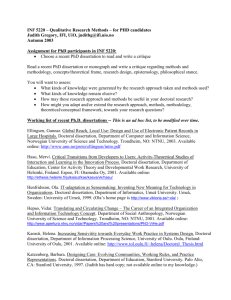 INF 5220 – Qualitative Research Methods – for PHD candidates