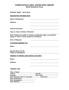 Book Donation Form - Connellsville Area School District