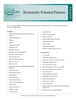 Brainstorm Potential Partners - American College Health Association