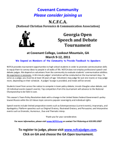 LINCOLN-DOUGLAS VALUE DEBATE TOURNAMENT