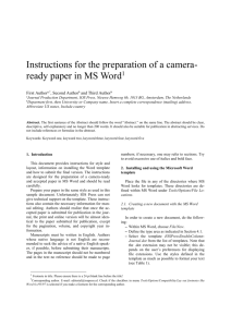 Instructions for the preparation of a camera-ready paper